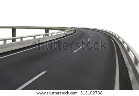 Highway overpass motion blur on white background . with clipping path . - stock photo