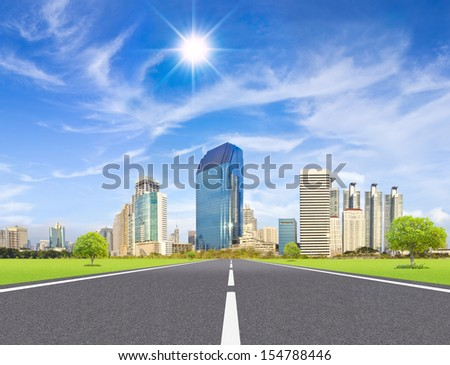 highway path to the city - stock photo