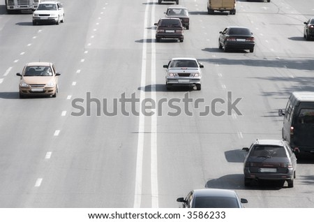 Highway perspective with cars. Russia Moscow city. - stock photo
