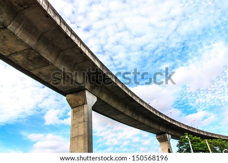 Highway road ahead with beautiful sky - stock photo