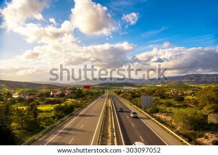 Highway road in Nicosia, Cyprus. - stock photo