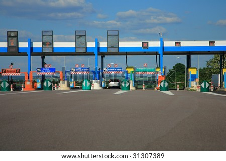 Highway road to toll in France - stock photo