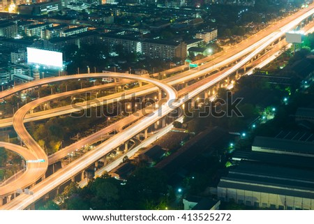 Highway road top view night time