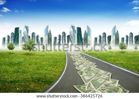 Highway road with city - stock photo