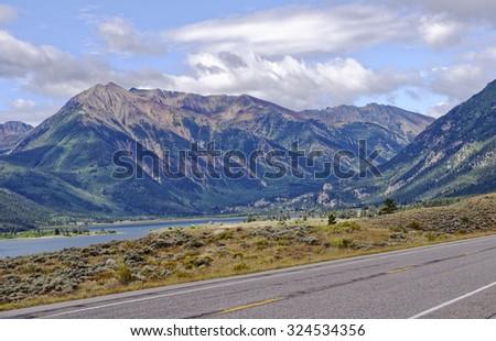 Highway 82 Rocky Mountains vista near Twin Lakes, Colorado, U.S.A. - stock photo