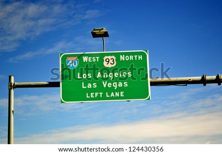 Highway sigh to Las Vegas and Los Angeles. USA - stock photo