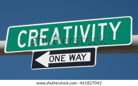 "Highway sign ""creativity one way"""