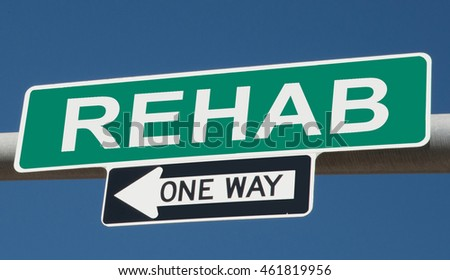 "Highway sign ""rehab one way"""