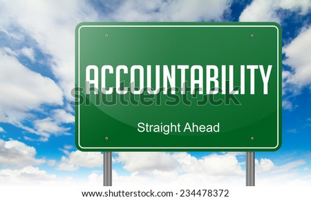 Highway Signpost with Accountability Wording on Sky Background. - stock photo