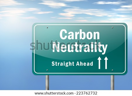Highway Signpost with Carbon Neutrality wording - stock photo
