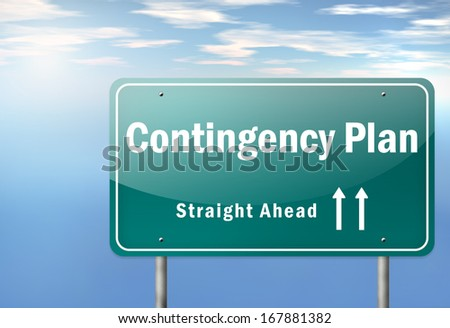 Highway Signpost with Contingency Plan wording - stock photo