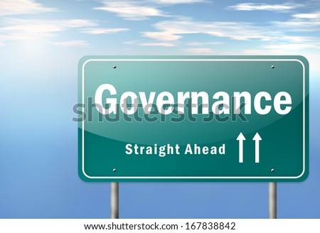 Highway Signpost with Governance wording - stock photo