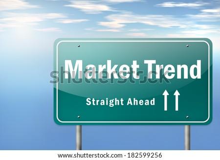 Highway Signpost with Market Trend wording - stock photo