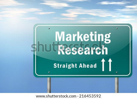 Highway Signpost with Marketing Research wording - stock photo