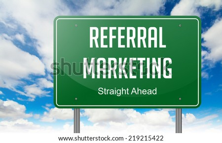 Highway Signpost with Referral Marketing wording on Sky Background. - stock photo