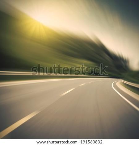 Highway speed cornering - stock photo