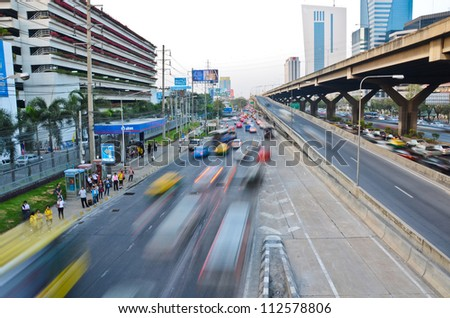 Highway speed line -statics and dynamics, in the city of Bangkok - stock photo
