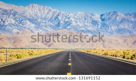 Highway through the Alabama Hills of California - stock photo