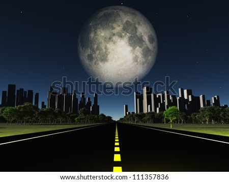 Highway to city with large moon - stock photo