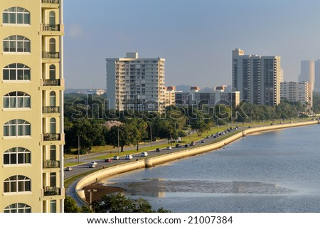 Highway to downtown Tampa - stock photo