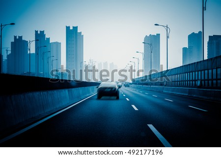 highway toward downtown district,shanghai,china.
