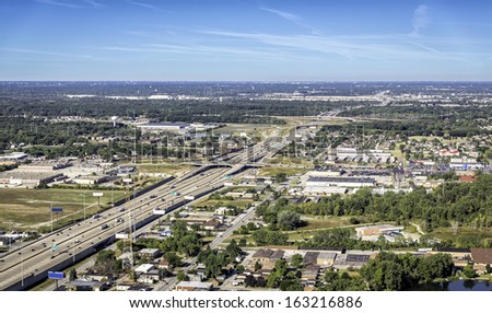 Highway traffic aerial view - stock photo