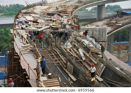 Highway under construction in Chongqing, China - stock photo