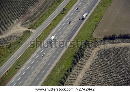 Highway w trucks and cars
