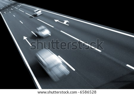 Highway with lots of car in motion - rush concept - stock photo