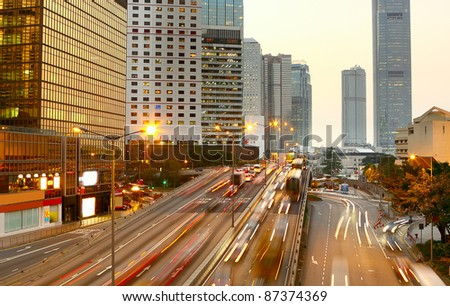 Highway with lots of cars. - stock photo