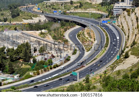 highway with many cars in Jerusalem, Israel, top view