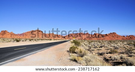 Highways and roads at the Valley of Fire / Road into the Valley of Fire - stock photo