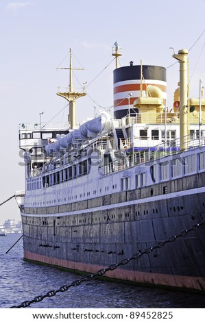 Hikawa-Maru at Yamashita Park in Yokohama, Japan. She was launched on 30 September 1929 and made her maiden voyage from Kobe to Seattle on 13 May 1930. - stock photo
