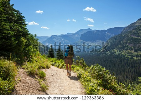 Hike in Glacier National Park,Montana - stock photo