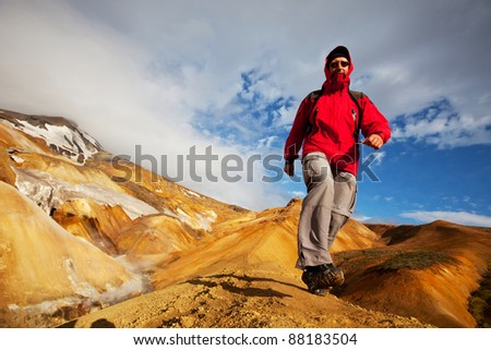 hike in Iceland - stock photo