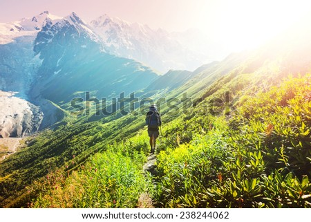 Hike in Svaneti mountains - stock photo