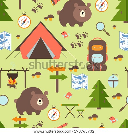 Hike in the woods seamless pattern depicting a tent  bear  backpack  rucksack  trees  forest   signpost  trail  map  compass  direction  campfire  mushrooms magnifying glass and exploring nature