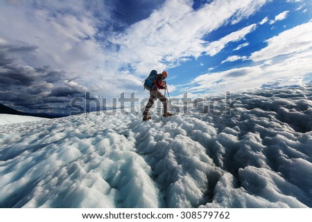 Hike in Wrangell-St. Elias National Park, Alaska - stock photo
