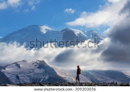 Hike on Mt Rainier - stock photo