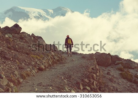 Hike on Mt Rainier - stock photo