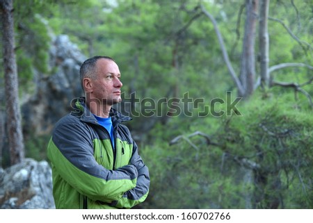 Hike on Turkey. Evening in the pine forest - stock photo