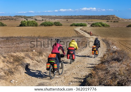 Hike the mountain biking on mountain serpentine  - stock photo