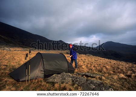 hiker at Rhos Boeth, Snowdonia National Park, Wales
