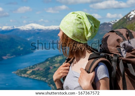 Hiker female portrait outdoor  - stock photo