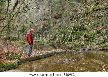 hiker, Gauchach gorge, Black Forest, Germany