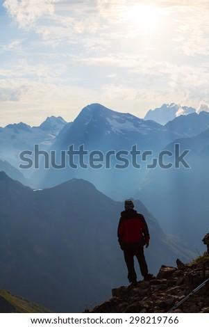 hiker in a mountains