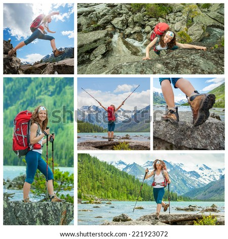Hiker in Altai mountains, Russian Federation - stock photo