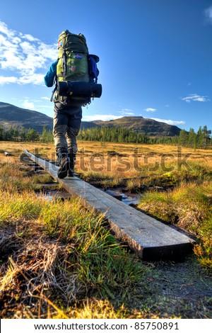 Hiker in Sweden - stock photo