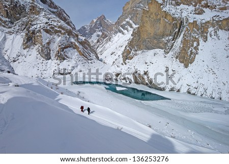 hiker on frozen Zanskar river, Ladakh, India