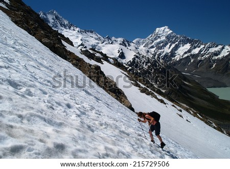Hiker on snowfield, Mount Cook area, New Zealand - stock photo